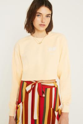 Uo Kyoto Overdyed Yellow Crop Sweatshirt by Urban Outfitters