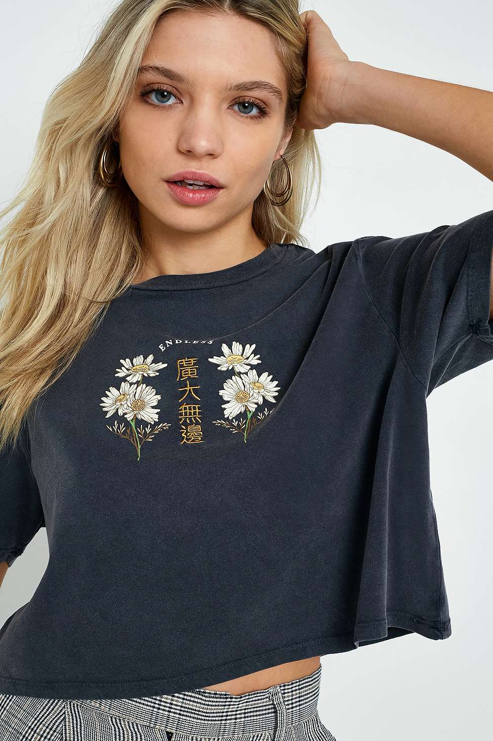 UO Floral Embroidered Endless T-Shirt, Dark Grey