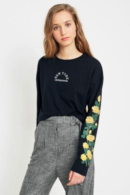 Cooperative by Urban Outfitters - Urban Outfitters New York Rose Long Sleeve T-Shirt, Black