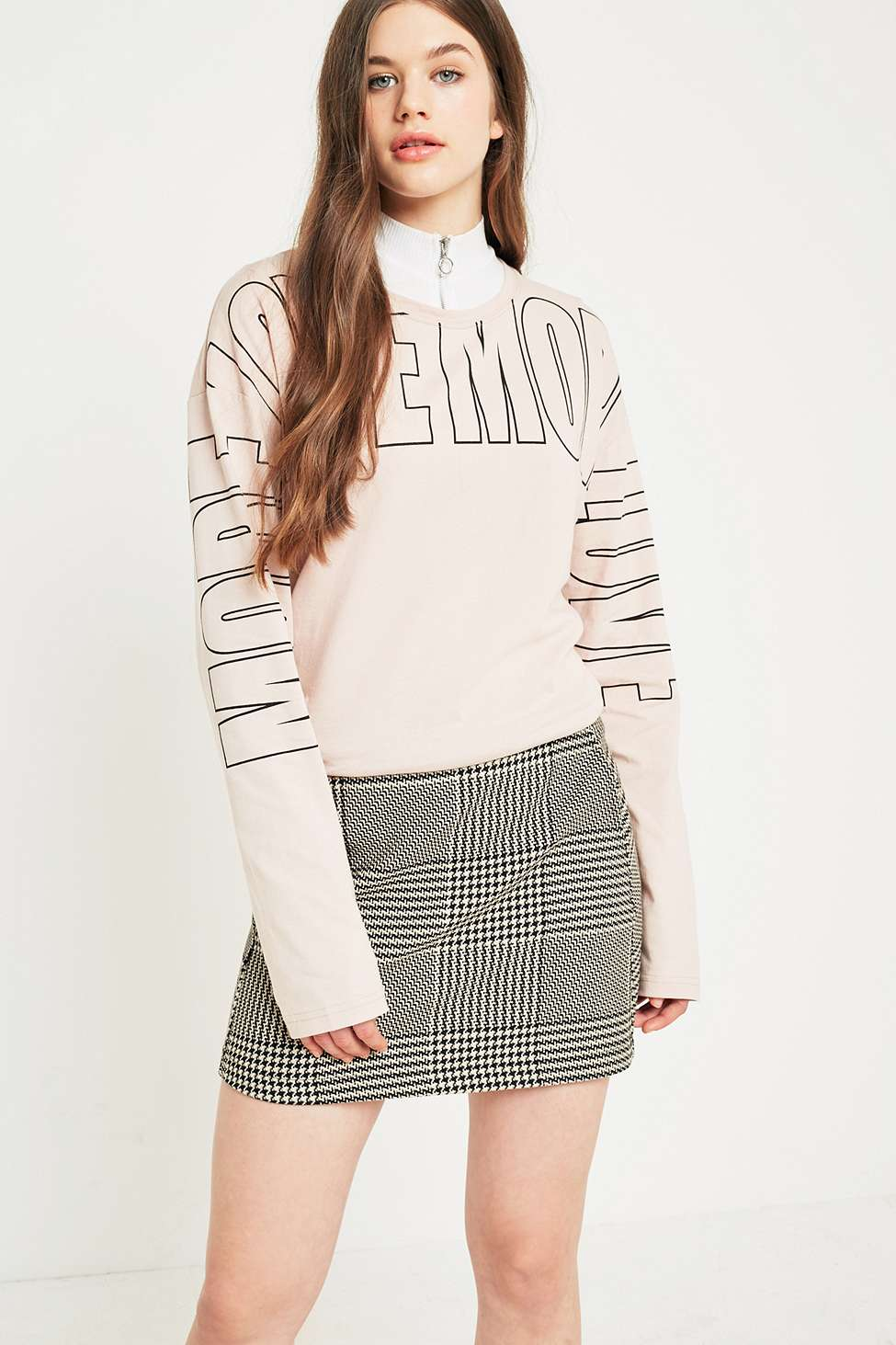 Urban Outfitters More Love Long Sleeve T-Shirt, Cream