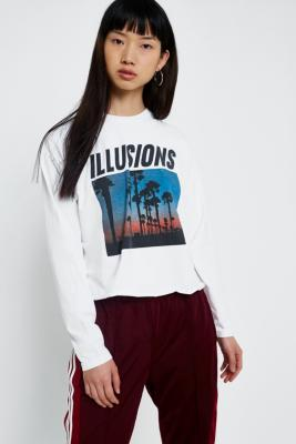Cooperative by Urban Outfitters - Urban Outfitters Palm Tree Illusions Long Sleeve T-Shirt, White