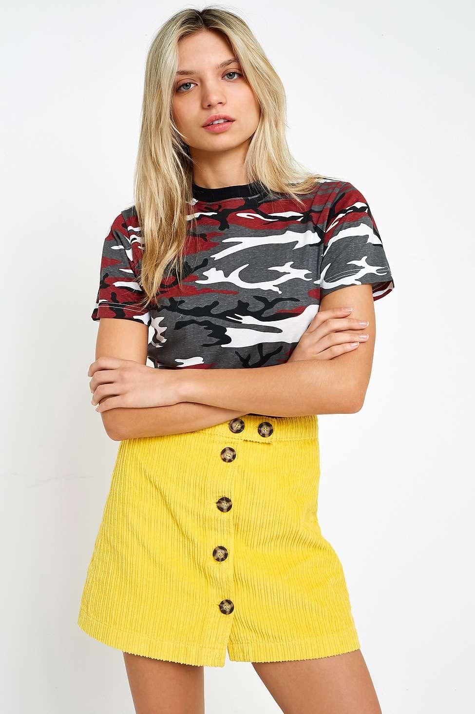 BDG Alexa Yellow Corduroy Button-Down Mini Skirt, Yellow