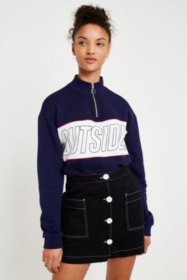 BDG - BDG Black Button-Through Twill Skirt, Black
