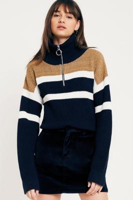 Light Before Dark - Light Before Dark Neat Velvet Mini Skirt, Navy