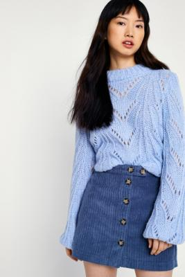 Urban Outfitters - UO Jumbo Corduroy Button-Down Mini Skirt, Blue