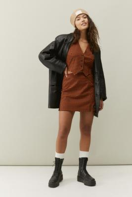 UO Gingham Check Notched Mini Skirt - Orange M at Urban Outfitters