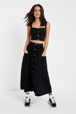 Urban Outfitters - UO Emilia Black Button-Through Midi Skirt, Black
