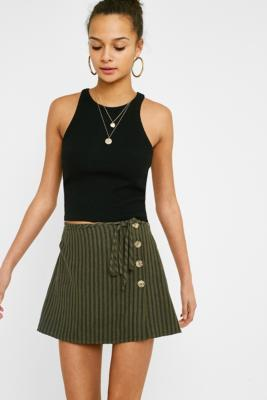 Urban Outfitters - UO Khaki Stripe Button Wrap Mini Skirt, Khaki