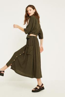 Uo Emilia Khaki Stripe Button Through Midi Skirt by Urban Outfitters