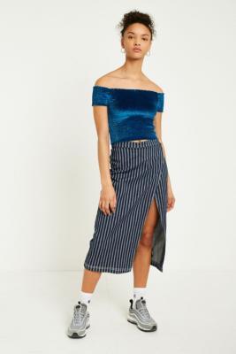 Urban Outfitters - UO Pinstripe Midi Wrap Skirt, Black