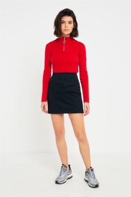 Light Before Dark - Light Before Dark Pinstripe Jersey Mini Skirt, Black