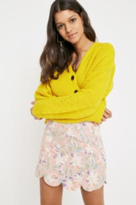 Urban Outfitters - UO Tulip Linen Skirt, Pink