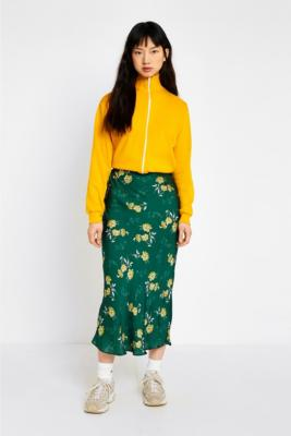 Urban Outfitters - UO Green Satin Floral Midi Skirt, Green