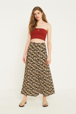 Urban Outfitters - UO Multi Floral Button-Through Midaxi Skirt, black