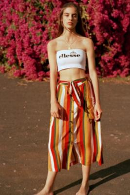 Urban Outfitters - UO Vertical Stripe Button-Through Midi Skirt, assorted