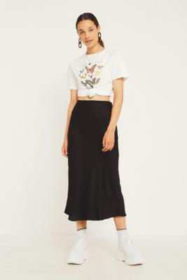 Uo Black Satin Bias Cut Midi Skirt by Urban Outfitters