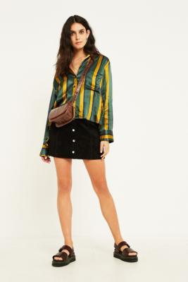 UO Jonie Black Suede Button-Through Skirt - Womens XS