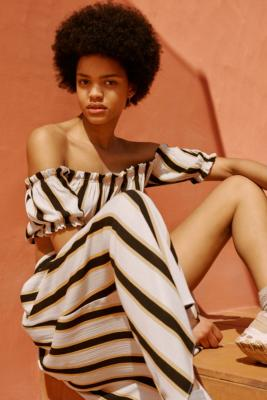 Uo Stripe Crinkle Midi Skirt by Urban Outfitters