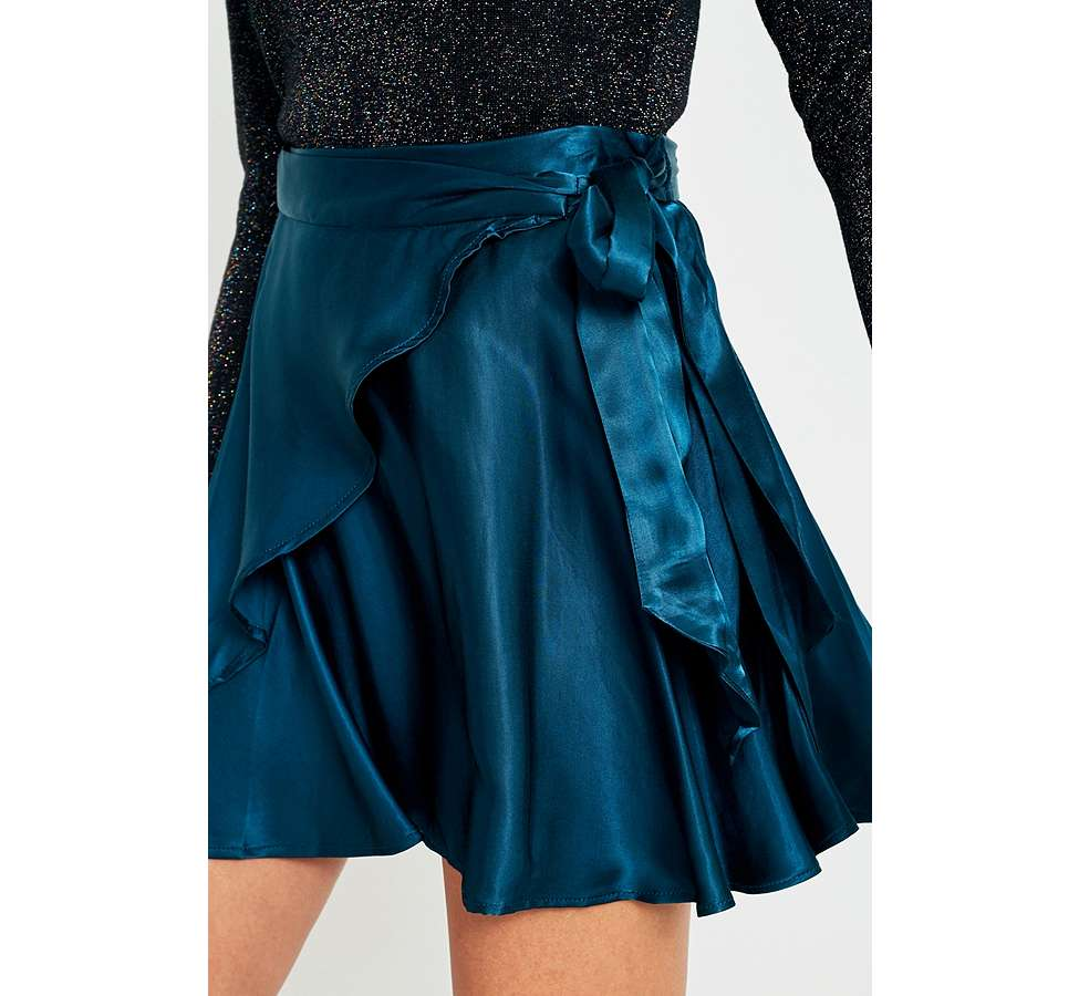 Slide View: 2: UO Maise Shiny Wrap Mini Skirt