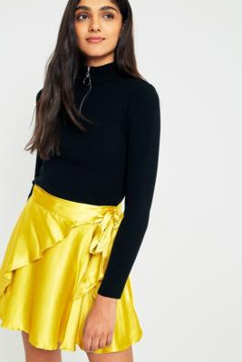 Urban Outfitters - UO Maise Shiny Wrap Mini A-Line Skirt, Yellow