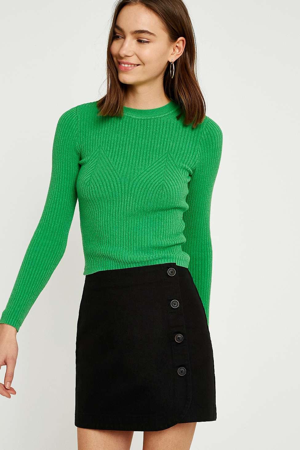 UO Shelly Twill Button-Down Mini Skirt, Black
