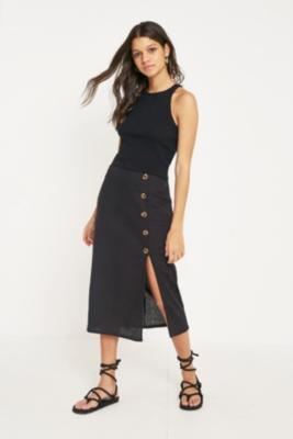 BDG - BDG Side Button Linen Midi Skirt, Black