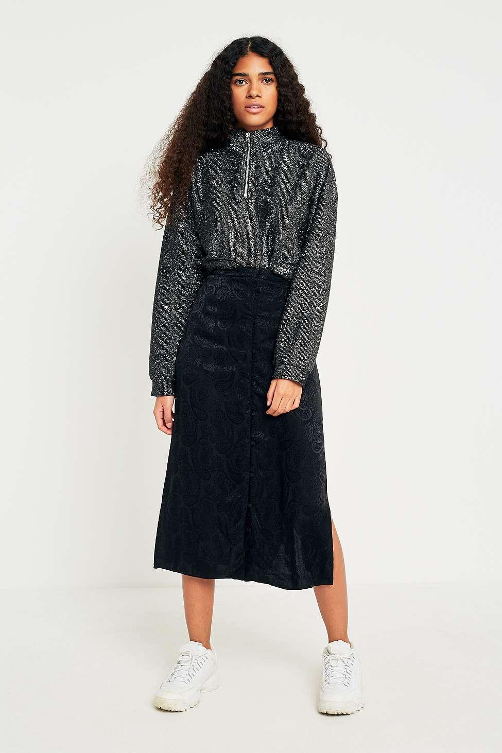 Pins  &  Needles Paisley Jacquard Midi Skirt, Black