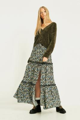 UO Floral Ruffle Maxi Skirt - Womens XS