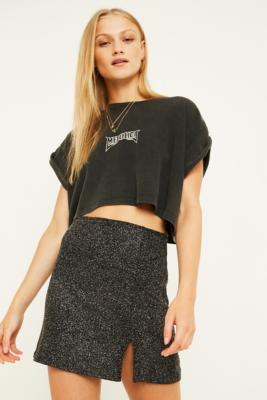 UO Sparkle Slit Mini Skirt - Womens M