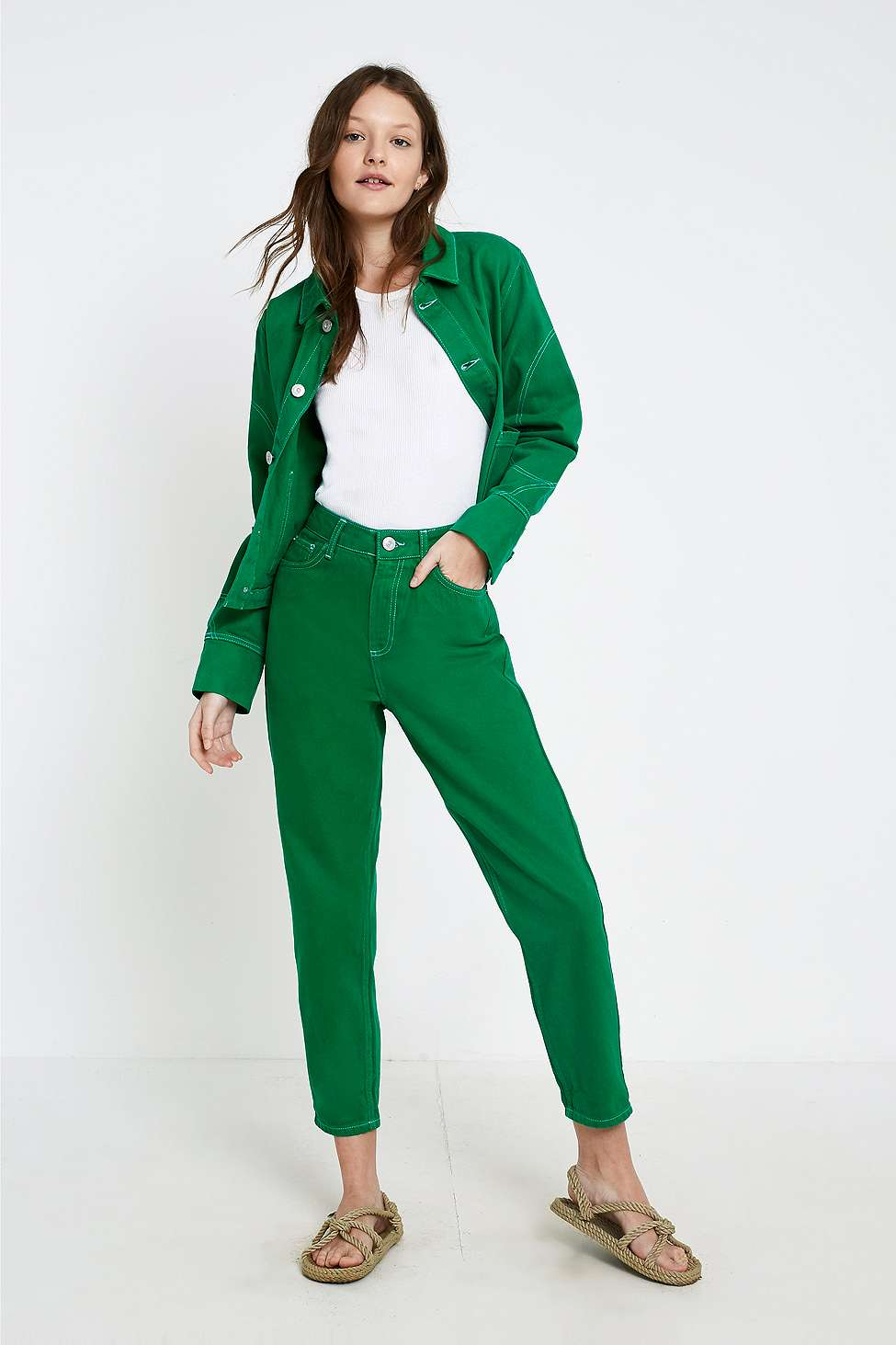 BDG Mom Contrast Stitch Green Jeans, Green