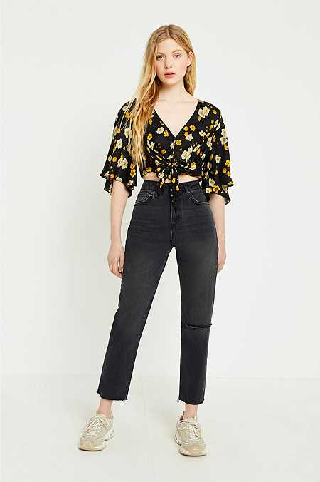 BDG – Mom Jeans in Used-Optik in verwaschenem Schwarz