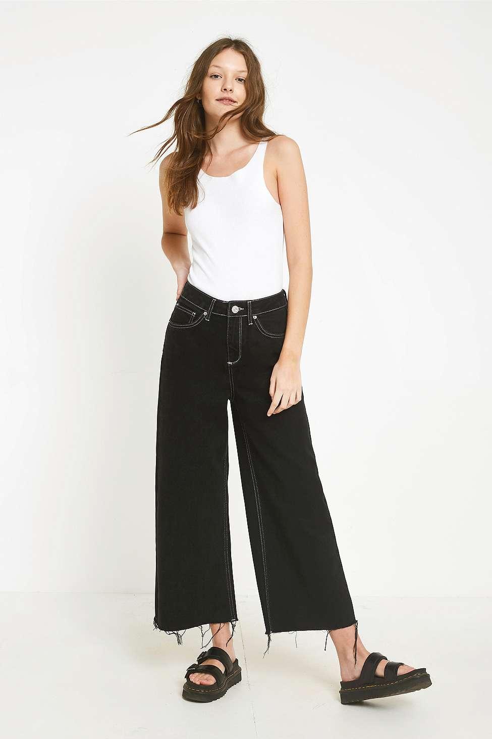 BDG Flood Black Contrast Stitch Jeans, Black  &  White