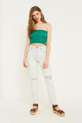 BDG - BDG Mom Bleach Wash Ripped Jeans, blue