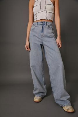 BDG Light Vintage Wash Wide-Leg Puddle Jeans - Blue 24W 30L at Urban Outfitters