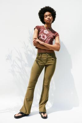 UO Bengaline Low-Rise Flare Trousers - Green S at Urban Outfitters