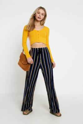 Urban Outfitters - UO Bold Stripe Plisse Puddle Trousers, Navy
