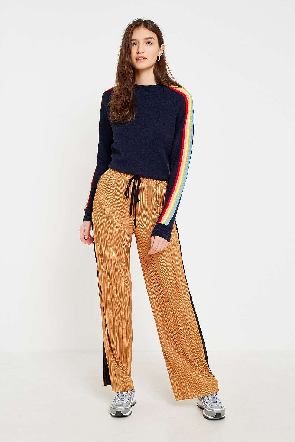 Light Before Dark Yellow and Black Striped Puddle Trousers, Yellow