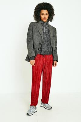 Light Before Dark - Light Before Dark Red Plisse Trousers, Red