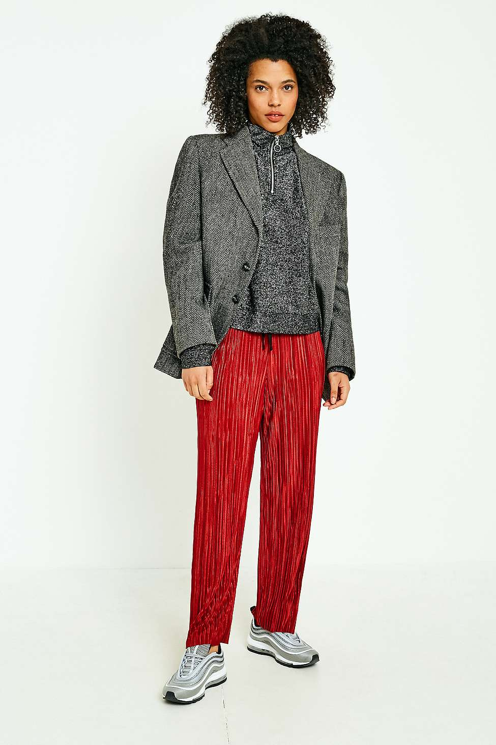 Light Before Dark Red Plisse Trousers, Red