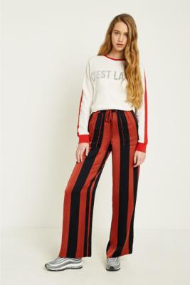 Urban Outfitters - UO Rust Striped Satin Puddle Trousers, Bronze
