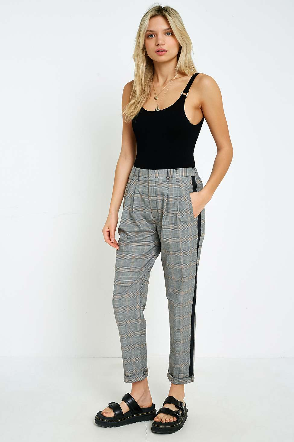 UO Yellow Checked Side Stripe Pleated Trousers, Yellow