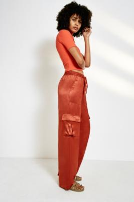 b316e2902e uo-satin-cargo-puddle-trousers by urban-outfitters