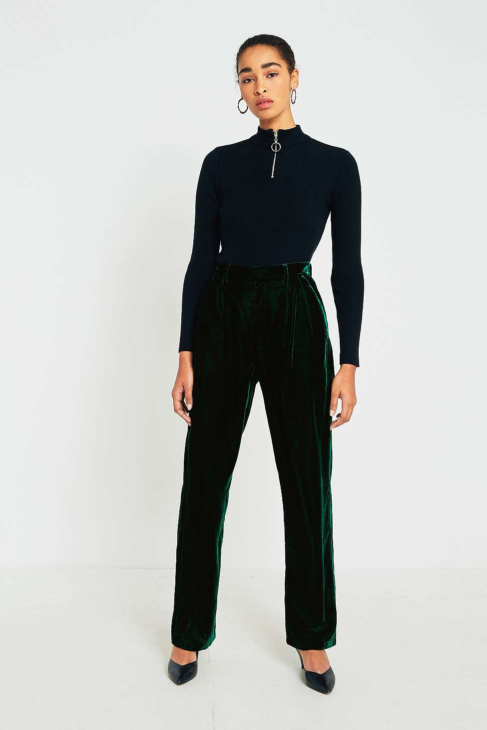 Light Before Dark Puddle Green Velvet Trousers, Green