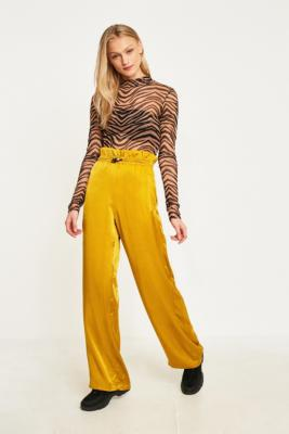 Uo Yellow Satin Paperbag Pull On Trousers by Urban Outfitters