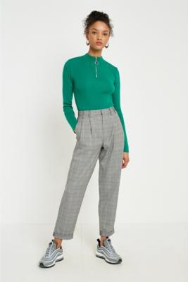 Light Before Dark - Light Before Dark Yellow Checked Pleated Trousers, Yellow