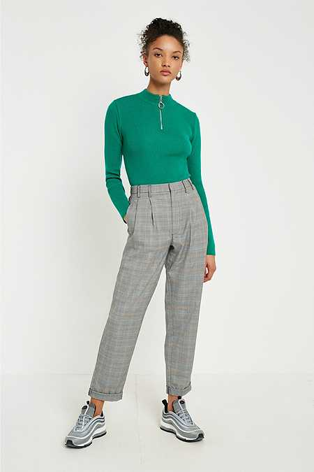 Light Before Dark Yellow Checked Pleated Trousers