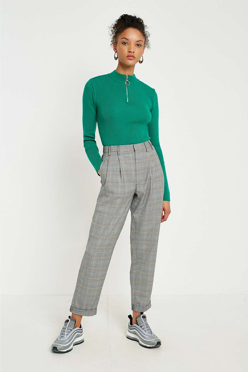 Light Before Dark Yellow Checked Pleated Trousers, Yellow