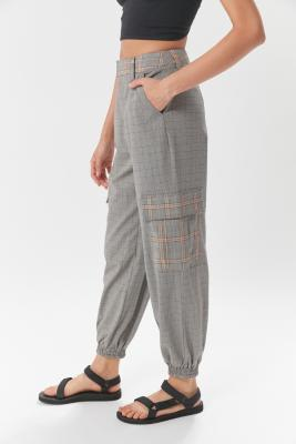 UO Check Utility Jogger Trousers - Black L at Urban Outfitters