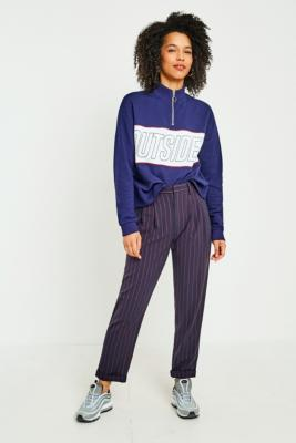 Light Before Dark - Light Before Dark Pinstripe Pleated Trousers, Maroon