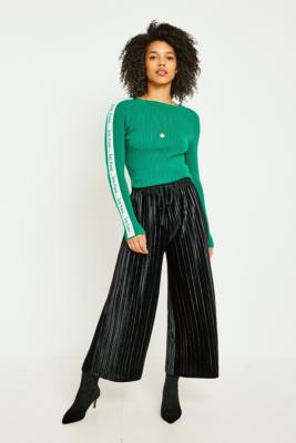 Light Before Dark - Light Before Dark Black Velvet Plisse Culottes, Black